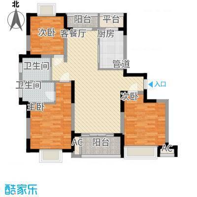富建洲际逸品12.00㎡一期5#标准层D1户型3室2厅2卫1厨