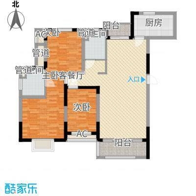 富建洲际逸品138.00㎡一期5#标准层C1户型3室2厅2卫1厨