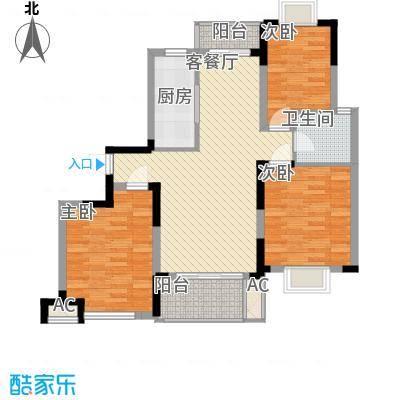 富建洲际逸品116.00㎡一期3#标准层D2户型3室2厅1卫1厨