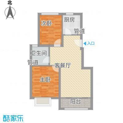 首尔甜城82.00㎡二期九里香堤北区A户型2室2厅1卫1厨