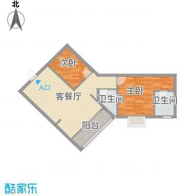 五邑锦绣豪庭82.10㎡五期5栋04户型2室2厅2卫1厨