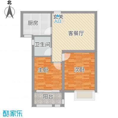 英伦花园高层1户型2室2厅1卫1厨