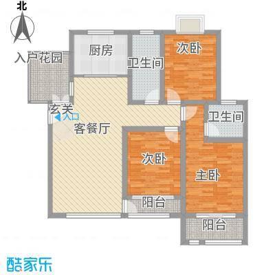 英伦花园高层4户型3室2厅2卫1厨