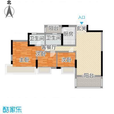 璐易豪庭11.67㎡1、2栋03单元户型3室2厅2卫1厨