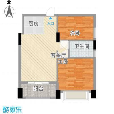梦云南雨林澜山74.24㎡公寓A户型2室2厅1卫1厨