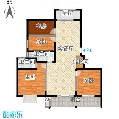 博奥东苑142.50㎡一期2号、3号楼标准层B-2户型4室2厅2卫1厨