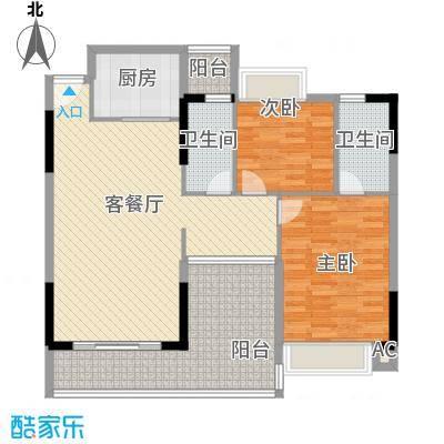 诚丰新园11.21㎡2单元01户型3室2厅2卫1厨