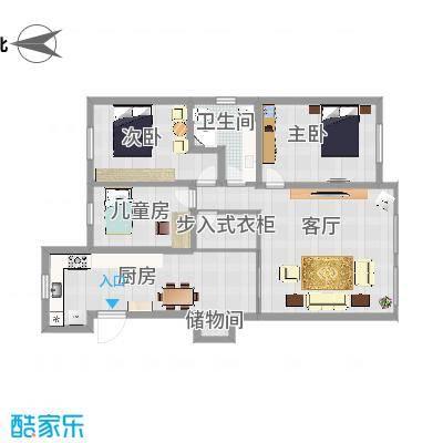 大连-北斗家园-设计方案-大厨房+步入衣柜-白底