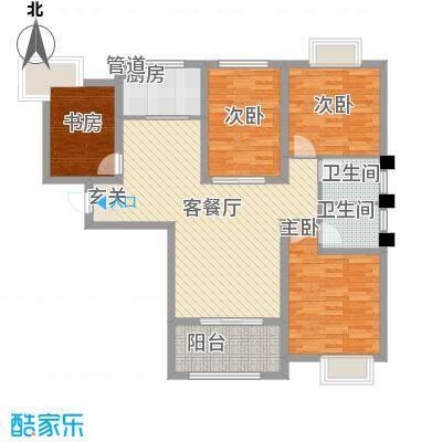 御景龙湾132.00㎡小高层16号楼东户M户型4室2厅2卫1厨