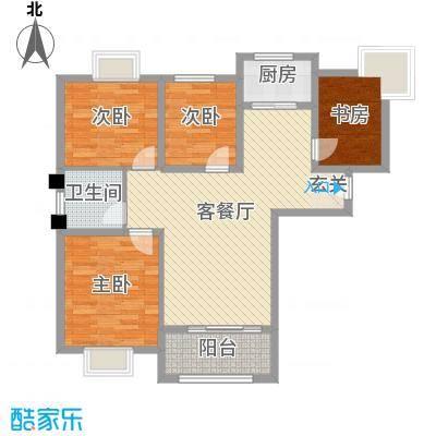 御景龙湾116.00㎡小高层9#16#号楼中间户D户型4室2厅1卫1厨
