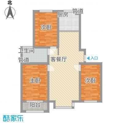 丽景盛园112.35㎡二期4-9栋楼标准层C1户型3室2厅2卫1厨