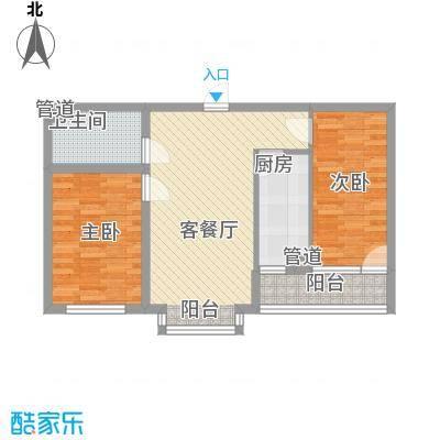 丽景盛园84.75㎡二期4-9栋楼标准层A2户型2室2厅1卫1厨