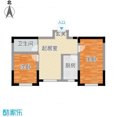 城建世纪佳园67.30㎡F户型2室2厅1卫1厨
