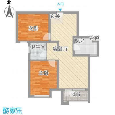 首尔甜城86.00㎡一期B11户型2室2厅1卫1厨