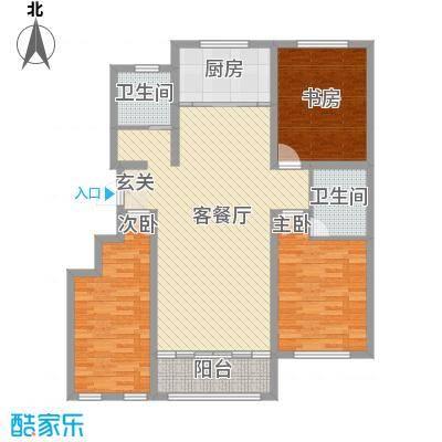 赛洛公馆135.00㎡1/2/3/4/5/6号楼E户型3室2厅2卫1厨