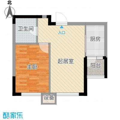 城建世纪佳园B户型1室2厅1卫1厨