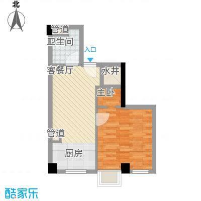 杰仕豪庭54.21㎡D2户型1室2厅1卫1厨