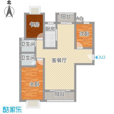 万水澜庭(西区)145.60㎡万水澜庭3号楼B户型3室2厅2卫1厨