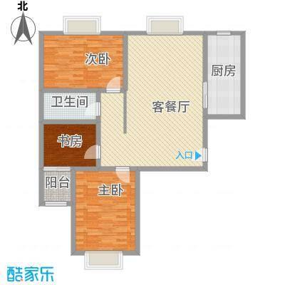 万水澜庭(西区)128.47㎡万水澜庭1号楼B户型3室2厅1卫