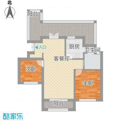 浦江国际72.73㎡B11#A户型2室1厅1卫1厨