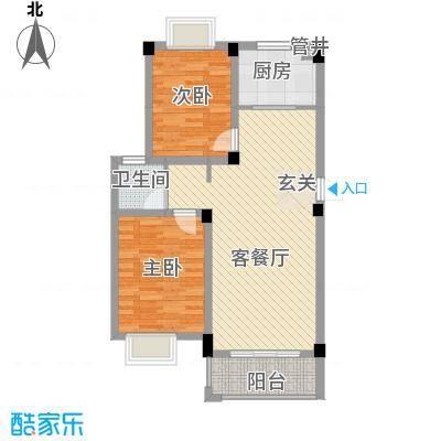 大桥新城83.20㎡1#、3#楼高层B户型2室2厅1卫1厨