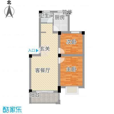 大桥新城76.00㎡1#、2#、3#、4#楼多层C户型2室2厅1卫1厨