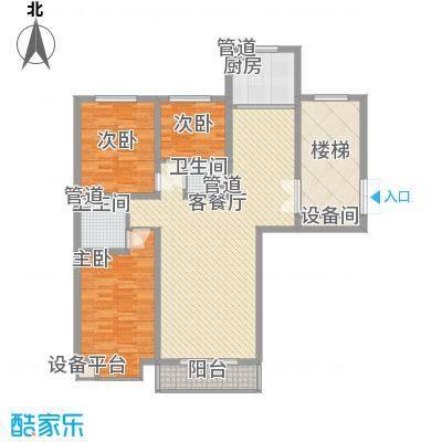 碧龙江畔124.44㎡N1户型3室2厅2卫1厨