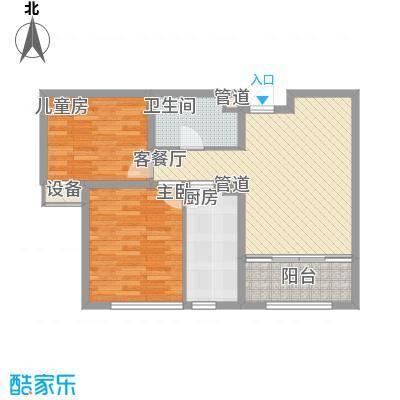 华创观礼中心83.36㎡1号楼标准层G户型2室2厅1卫1厨