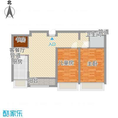 华创观礼中心11.10㎡1号楼标准层J户型2室2厅1卫1厨