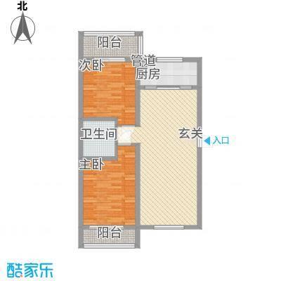 东盛世家1.43㎡T户型2室2厅1卫