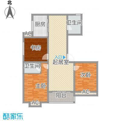 景盛花园14.60㎡一期1号楼标准层B户型3室2厅2卫1厨