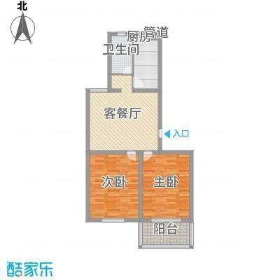 景盛花园2.80㎡一期1号楼标准层C户型2室2厅1卫1厨