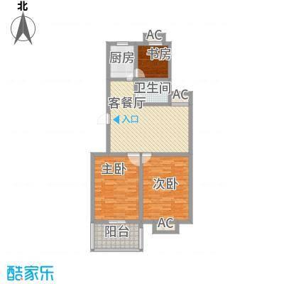 景盛花园16.45㎡一期1号楼标准层A户型3室2厅1卫1厨