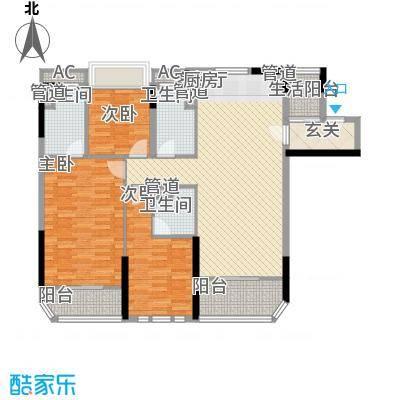 碧桂园金海湾112.60㎡J535-D户型3室2厅3卫1厨