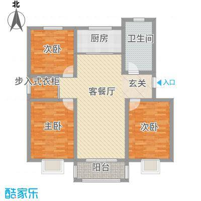 昊天龙景佳苑121.80㎡多层A户型3室2厅1卫1厨