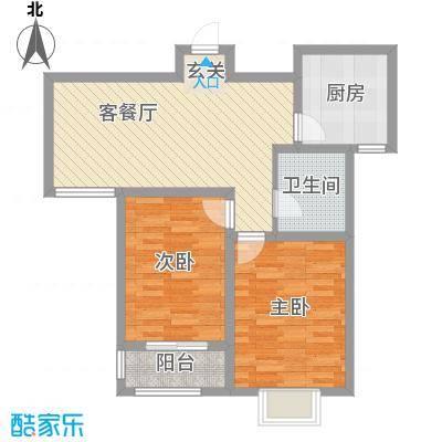 昊天龙景佳苑88.40㎡高层D户型2室2厅1卫1厨