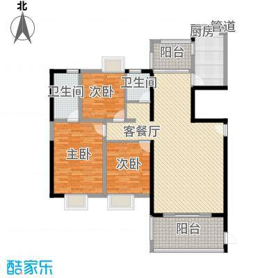富雅国际145.00㎡7#A02户型3室2厅2卫1厨