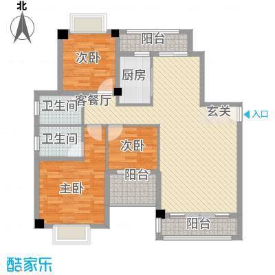 万豪天悦广场122.00㎡B1户型3室2厅2卫1厨