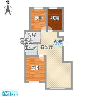 大禹奥城一期A1户型3室2厅1卫1厨