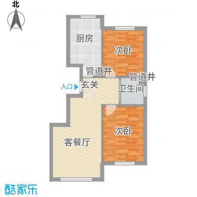 大禹奥城一期B2户型2室2厅1卫1厨