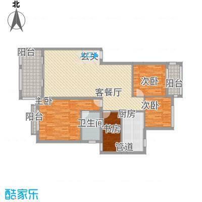 金龙国际花园127.41㎡32号楼2单元2层2号户型3室2厅2卫1厨