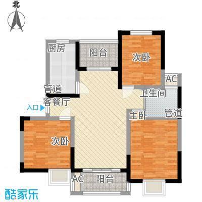 富建洲际逸品18.00㎡一期5#标准层B3户型3室2厅1卫1厨