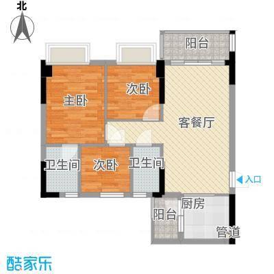 德雅湾阳光海82.30㎡2幢、5幢04单元户型3室2厅2卫1厨