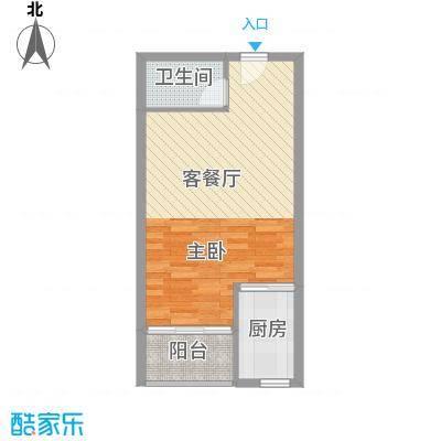 信德华府43.10㎡一期高层15#楼A1户型1室2厅1卫1厨