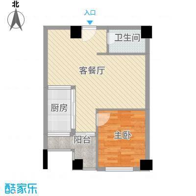 信德华府51.54㎡一期高层15#楼A2户型1室2厅1卫1厨