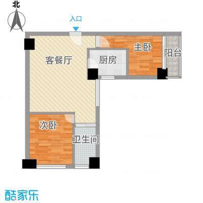 信德华府58.13㎡一期高层15#楼A3户型2室2厅1卫1厨