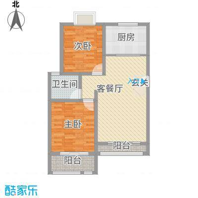 英伦花园高层2户型2室2厅1卫1厨