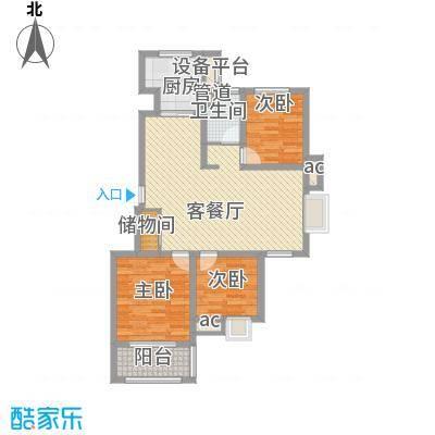 御山雅苑18.00㎡5#东户E户型3室2厅1卫1厨