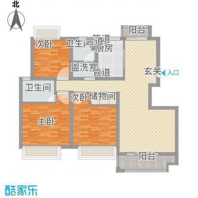 幸福壹号公馆132.00㎡一期标准层A户型3室2厅2卫1厨