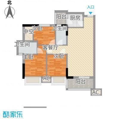 德雅湾阳光海84.35㎡8幢02单元、9幢03单元户型3室2厅2卫1厨